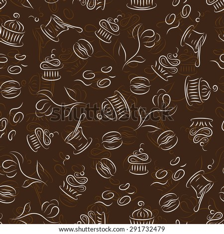 Seamless pattern with desserts (cupcakes, macaroon, yogurt, muffins, coffee beans) - stock vector