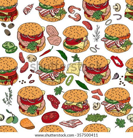 Seamless pattern with different burgers.  For your design, announcements, cards, posters, restaurant and cafe menu.
