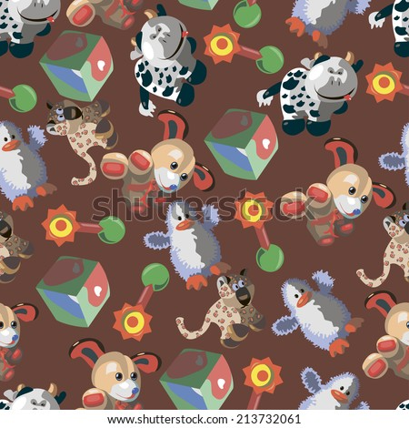 Seamless pattern with different children's cartoon toys on a brown background