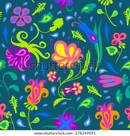Seamless pattern with different colorful flowers. Vintage floral ornament. Vector illustration.