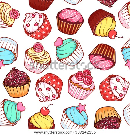 Seamless pattern with different cupcakes on a white background. Sweet pastries decorated with hearts, cherry, flower and star. - stock vector