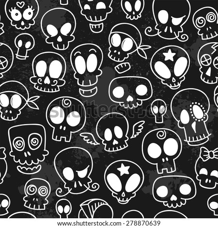 seamless pattern with different cute sketchy  skulls  - stock vector
