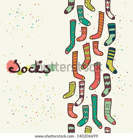 Seamless pattern with different doodle hand drawn socks. Vector background. - stock vector