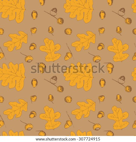 Seamless pattern with different fall oak leafs and acorn