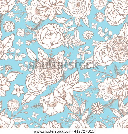 Seamless pattern with different flowers. Hand drawn floral compositions. Boho style. Summer. Floral pattern for textile, packaging, greeting cards, invitations, wedding decoration. Bohemian collection - stock vector
