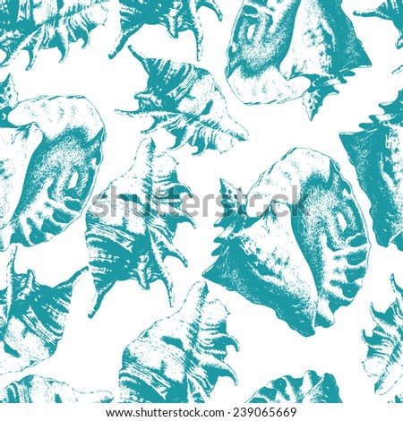 Seamless pattern with different shells. hand draw. - stock vector