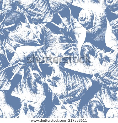 Seamless pattern with different shells on a blue background - stock vector
