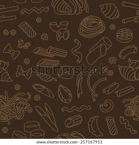 Seamless pattern with different types of italian pasta and noodles. - stock vector