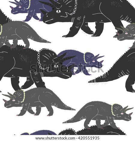 Seamless pattern with dinosaurs. Vector illustration.