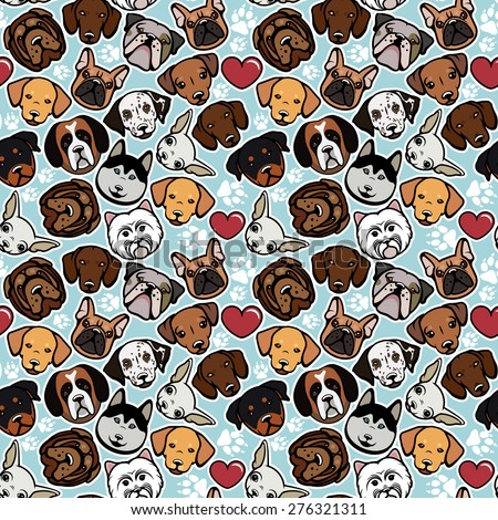 Seamless pattern with dog breeds. Dog collection. - stock vector