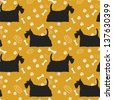 Seamless pattern with dogs silhouettes. Scottish terrier. Vector background. - stock vector