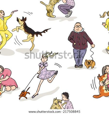 Seamless pattern with domestic dogs and their owners - stock vector