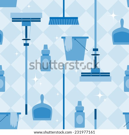 Seamless pattern with domestic tools for cleaning. - stock vector