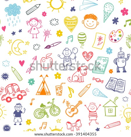 Seamless pattern with doodle children drawing.  - stock vector
