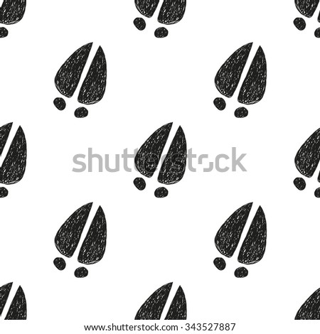 Seamless Pattern Doodle Cow Tracks Animal Stock Vector ...