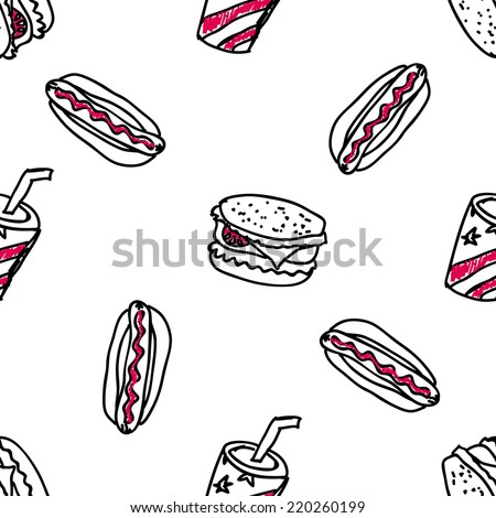 Seamless pattern with doodle fast food on white background - stock vector