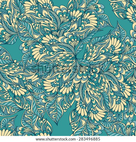 Seamless pattern with doodle flowers in blue  beige colors for decorated textile or clothes or other things   - stock vector