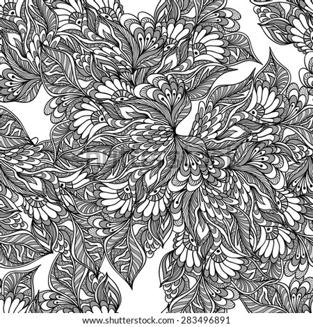 Seamless pattern with doodle flowers in grey white black colors for decorated textile or clothes or other things   - stock vector