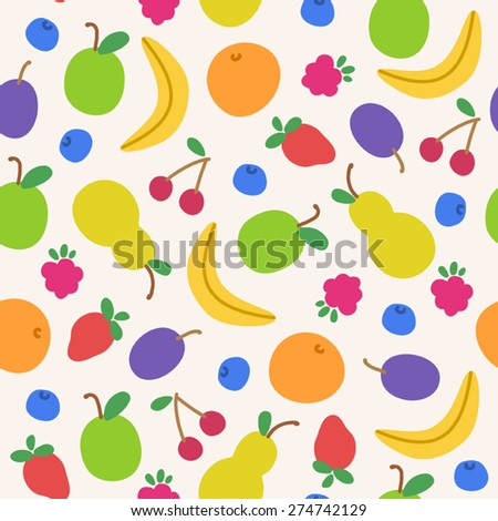 Seamless pattern with doodle fruits - stock vector