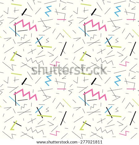 Seamless pattern with doodle geometric shapes in 90s style 1 - stock vector