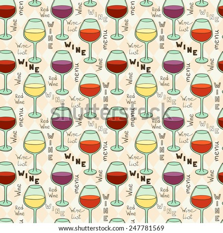 Seamless pattern with doodle glasses for red wine and hand written lettering on light geometrical background. - stock vector