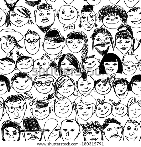 Seamless pattern with doodle portraits of smiling crowd people