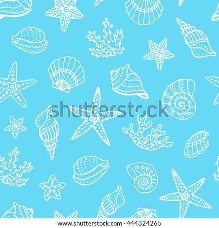 Seamless pattern with doodle seashells, corals and starfishes. Hand drawn vector illustration.