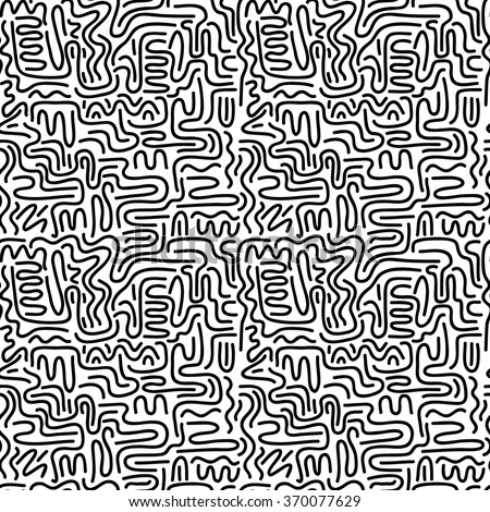 Seamless pattern with doodle wavy lines in retro style in black and white 1