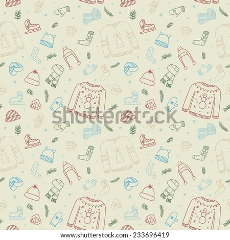 Seamless pattern with doodle winter season accessories 2 - stock vector