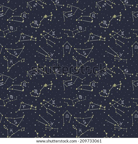 Seamless pattern with doodle zodiac sings in starry sky 1 - stock vector