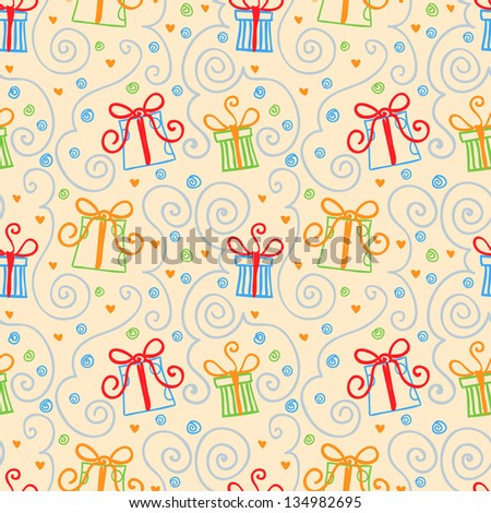 seamless pattern with doodles gift boxes - stock vector