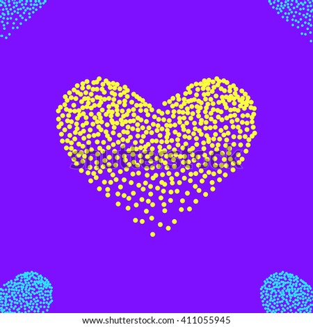 Seamless pattern with dotted heart shapes, stipple effect, vector illustration