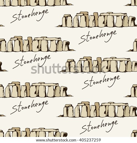 Seamless pattern with drawing of Stonehenge in England, vector landmarks background - stock vector