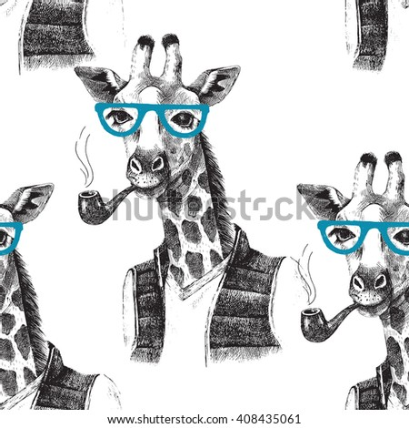 Seamless pattern with dressed up giraffe hipster. Vector illustration in hipster style