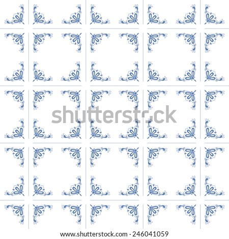 Seamless pattern with Dutch ornaments (Delft blue style). EPS 10. - stock vector
