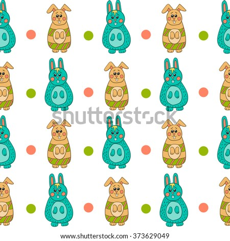 Seamless pattern with Easter bunny. Happy Easter illustration. - stock vector