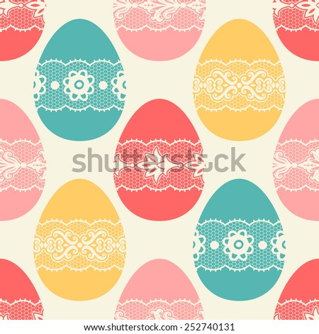 Seamless pattern with Easter eggs. - stock vector