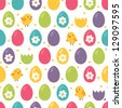 Seamless pattern with easter eggs and chickens - stock vector