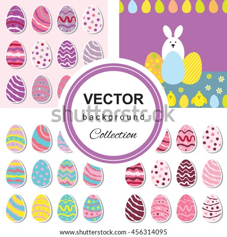 Seamless pattern with easter eggs and rabbit. Multicolored background. - stock vector