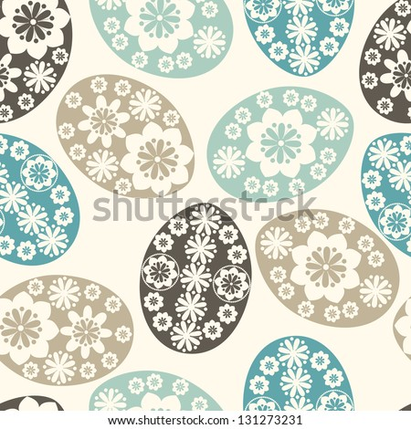 Seamless pattern with Easter eggs in pastel colors. Vector background with ornamental Easter eggs. - stock vector