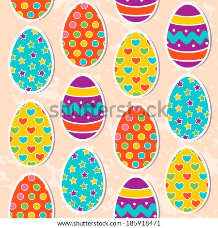 Seamless pattern with easter eggs. vector illustration - stock vector