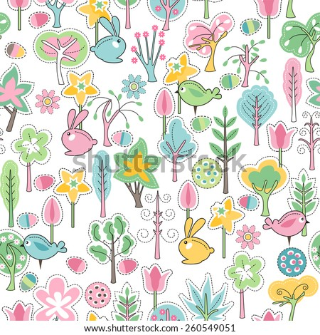 Seamless pattern with easter rabbits and spring trees - stock vector