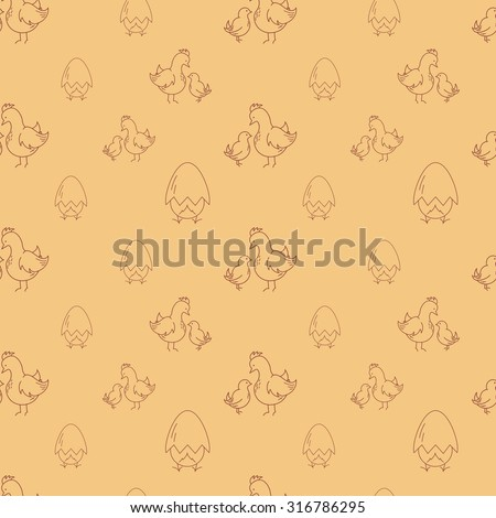 Seamless pattern with eggs and chickens. Poultry background or wrapper. - stock vector