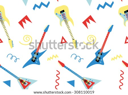 Seamless pattern with electric guitars in retro style 2 - stock vector