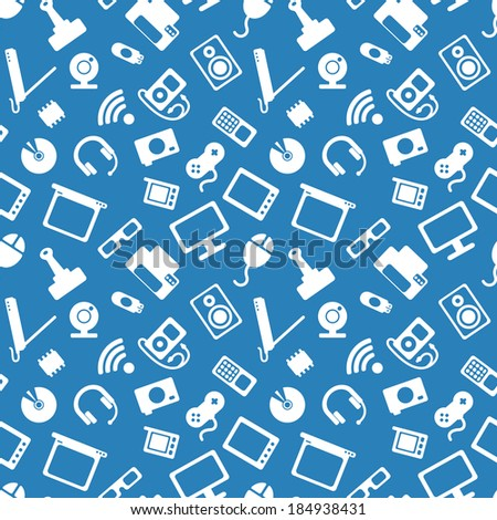 seamless pattern with electronics, white icons of computer technology on a  blue background - stock vector