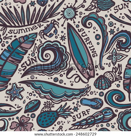 Seamless pattern with element of surfing. Vector summer background. - stock vector