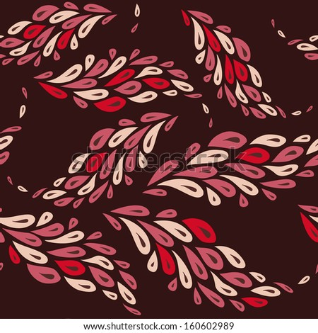 seamless pattern with elements like feathers on a brown background  - stock vector