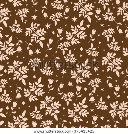 seamless pattern with elements of natural plants and flowers. on brown background - stock vector