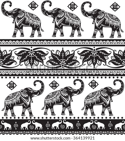 Seamless pattern with elephants  - stock vector
