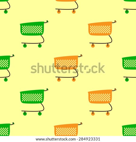 Seamless pattern with empty green and orange colored plastic shopping cart isolated on yellow background - stock vector